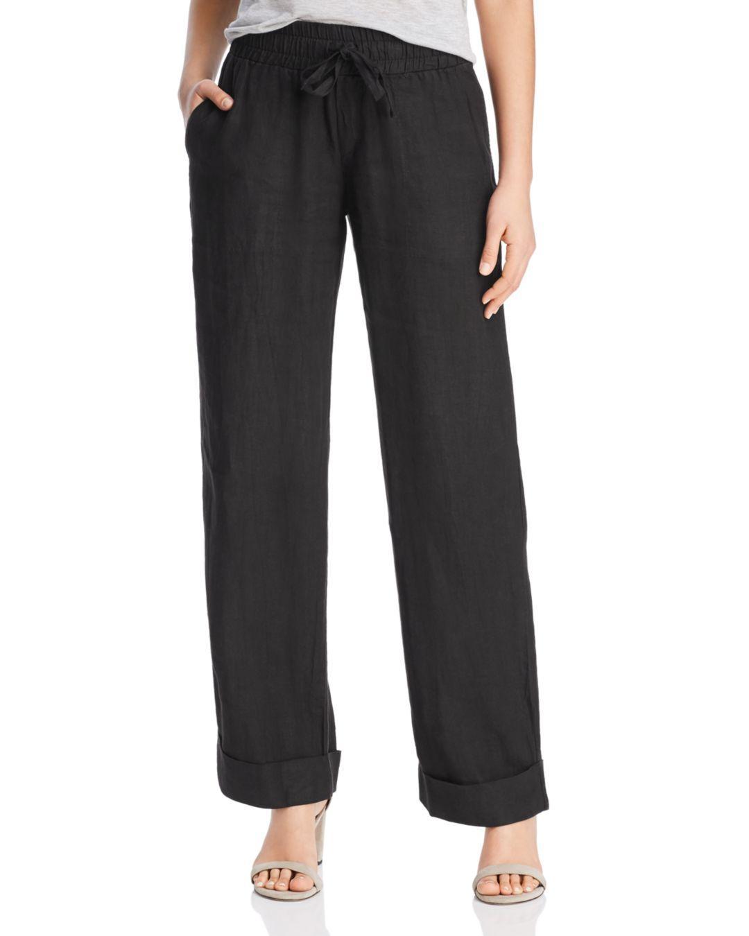 55b4f501f6 Lyst - Three Dots Linen Beach Pants in Black