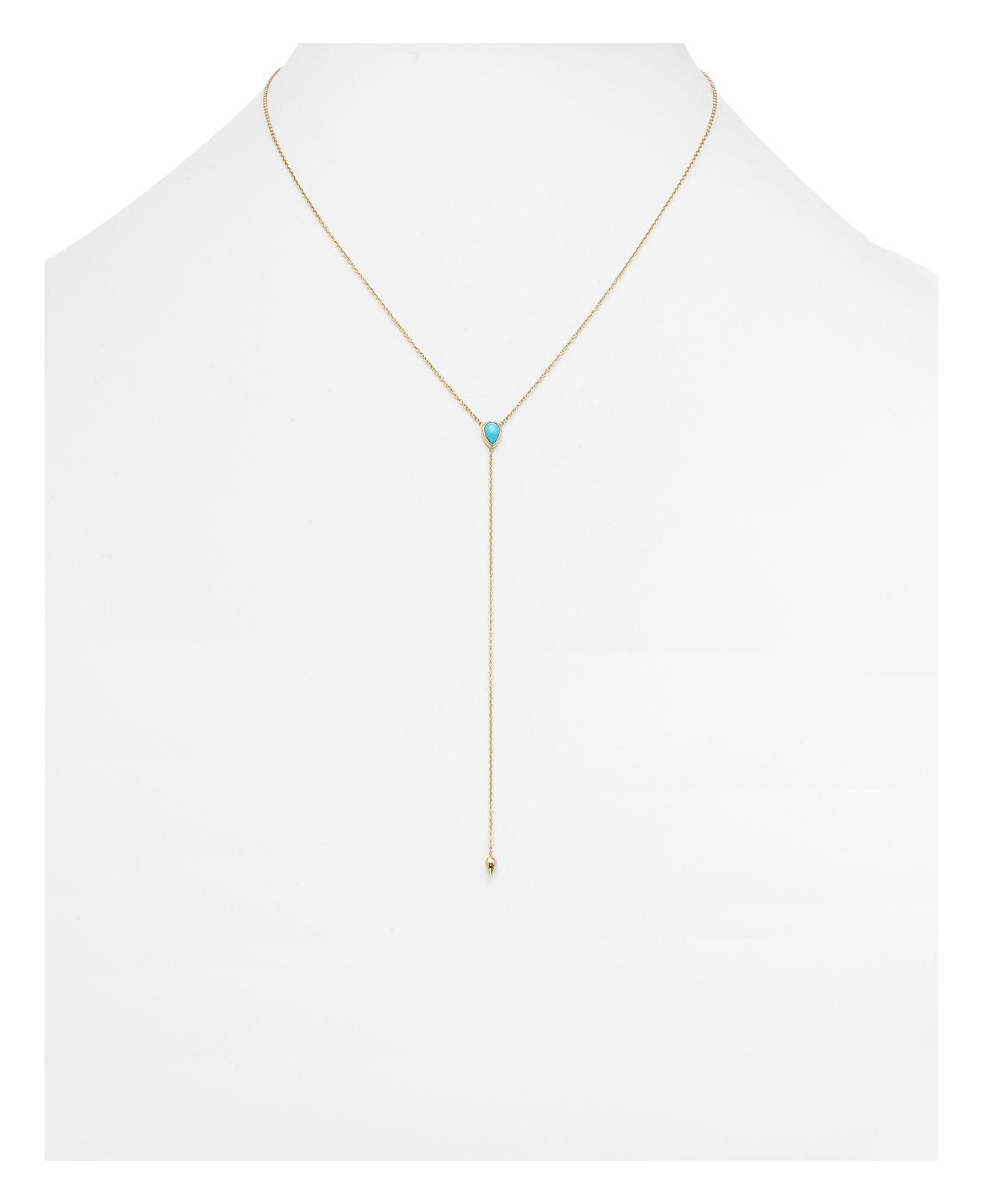 Zoe Chicco Turquoise & 14k Yellow Gold Lariat Necklace in Blue/Gold (Metallic)