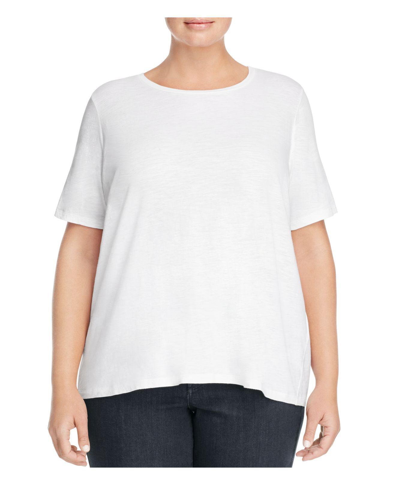 Lyst eileen fisher organic cotton heathered tee in white for Eileen fisher organic cotton t shirt