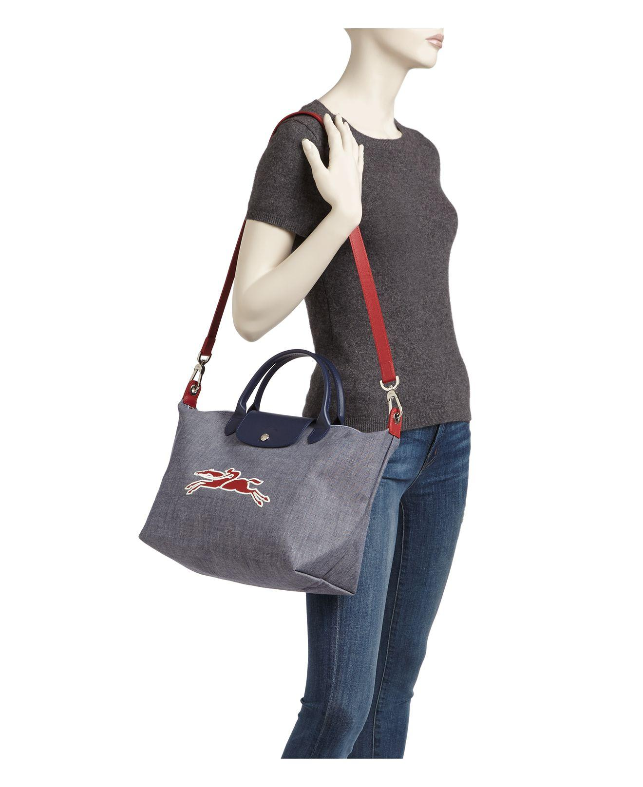 51f2a3a521e Lyst - Longchamp Le Pliage On The Road Medium Satchel in Blue