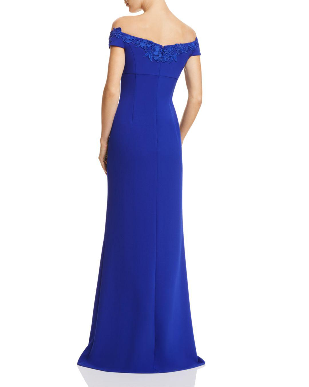 Lyst Aidan Mattox Off The Shoulder Gown In Blue