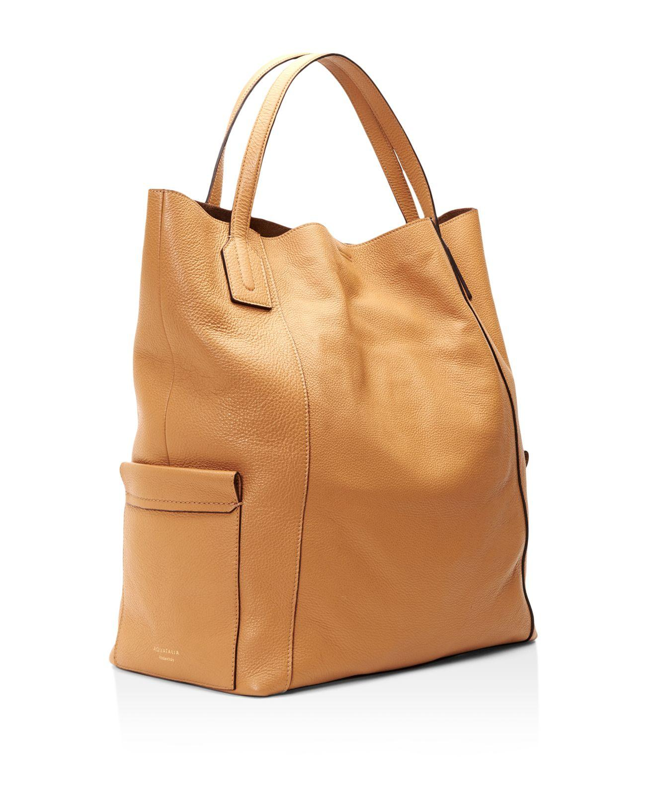 Aquatalia Leather Emery Large Tote in Brown