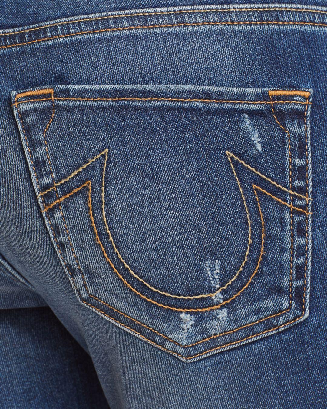 True Religion Denim Halle Mid Rise Super Skinny Jeans In Broken Night in Blue