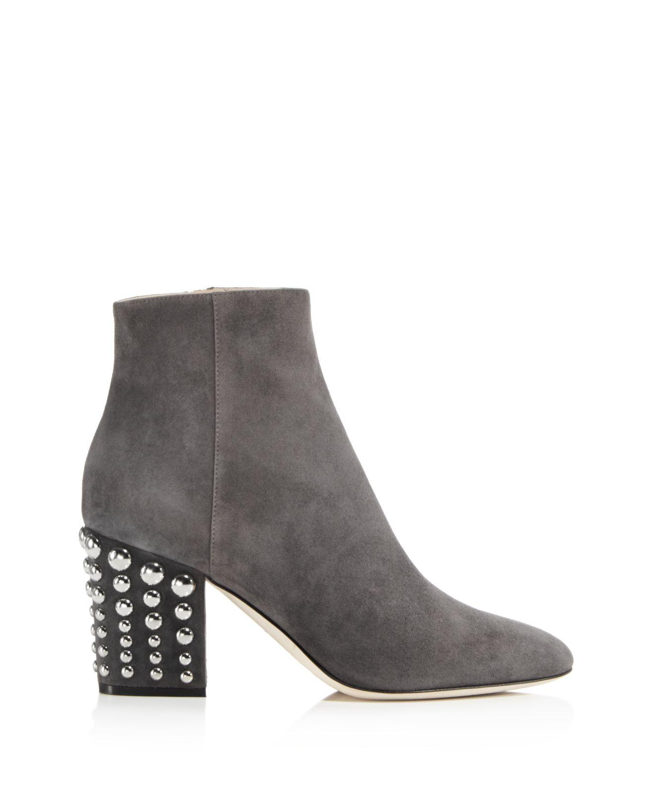 Lyst Sergio Rossi Elettra Studded Block Heel Booties In Gray