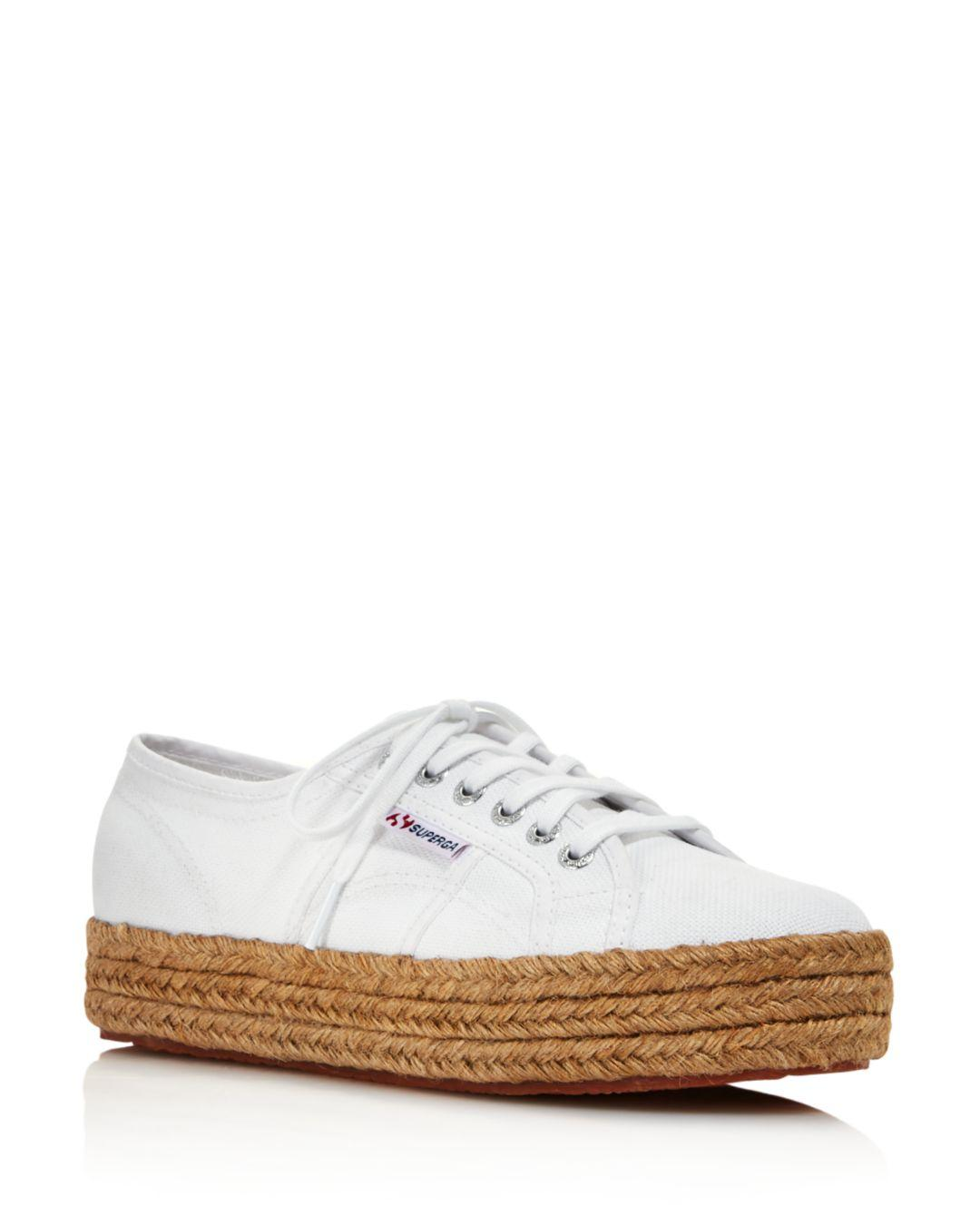 21ab5a2102a4b Superga Women's 2790 Cotropew Flatform Espadrille Trainers in White ...