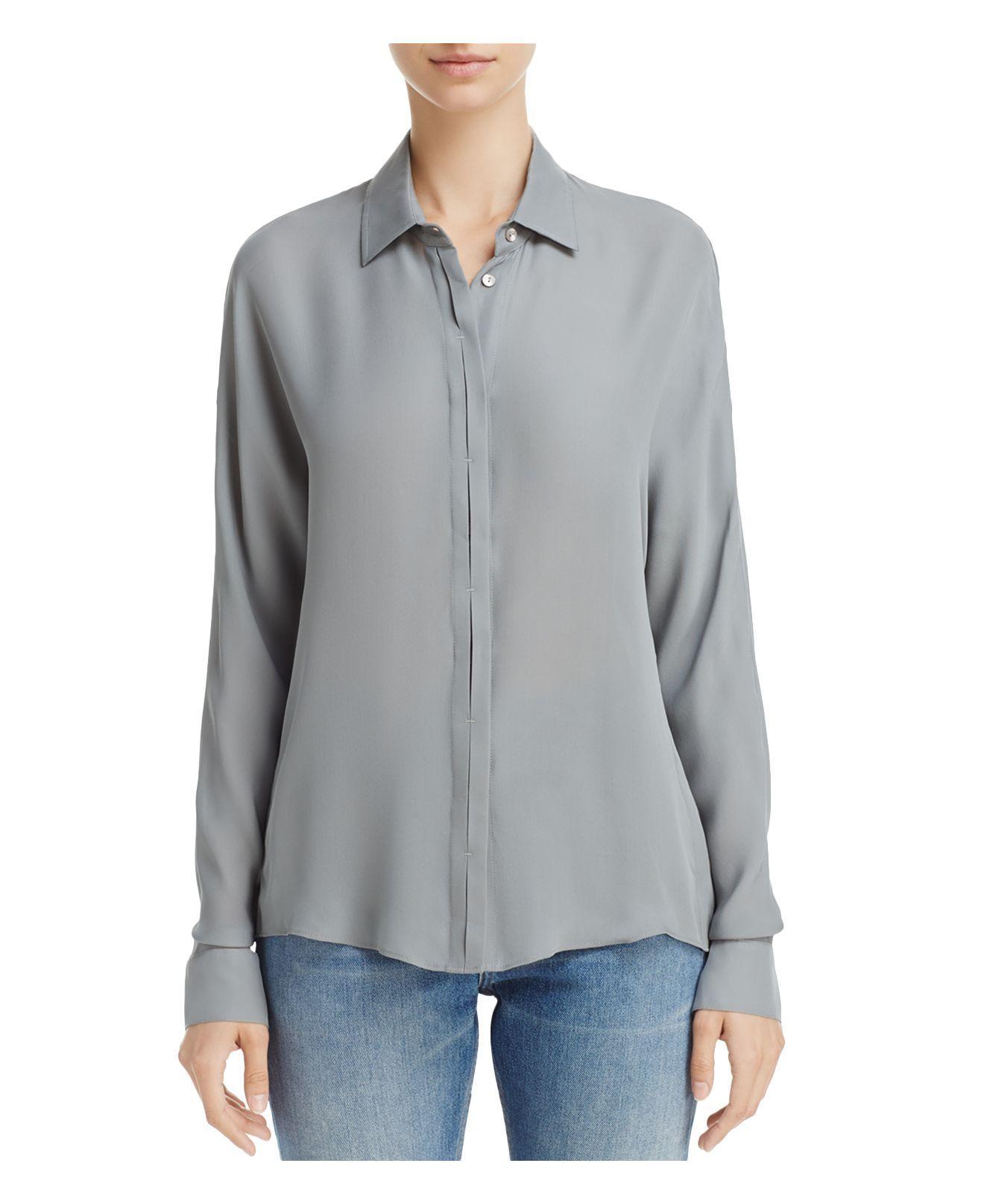 vince silk button down shirt in grey lyst