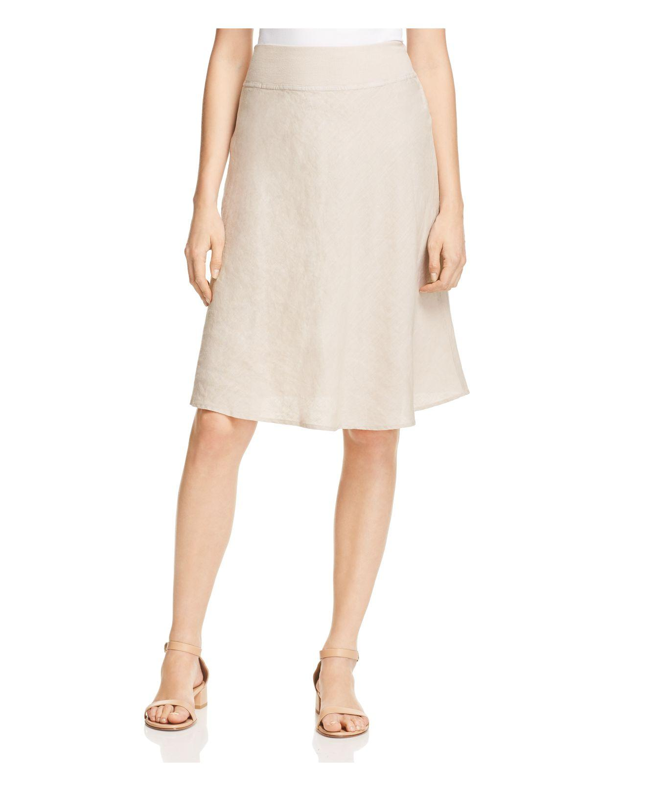 three dots linen a line skirt in lyst