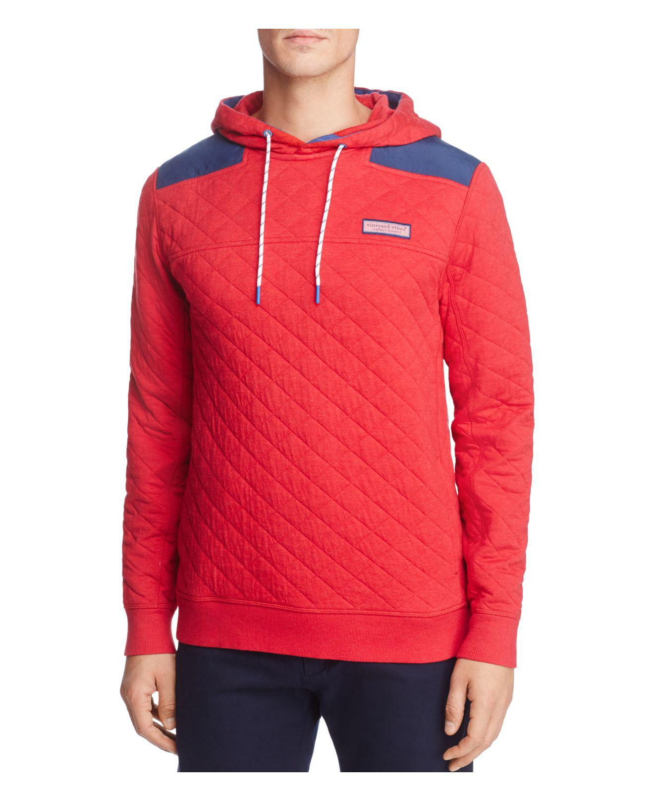 Vineyard Vines Shep Quilted Pullover Hoodie In Red For Men