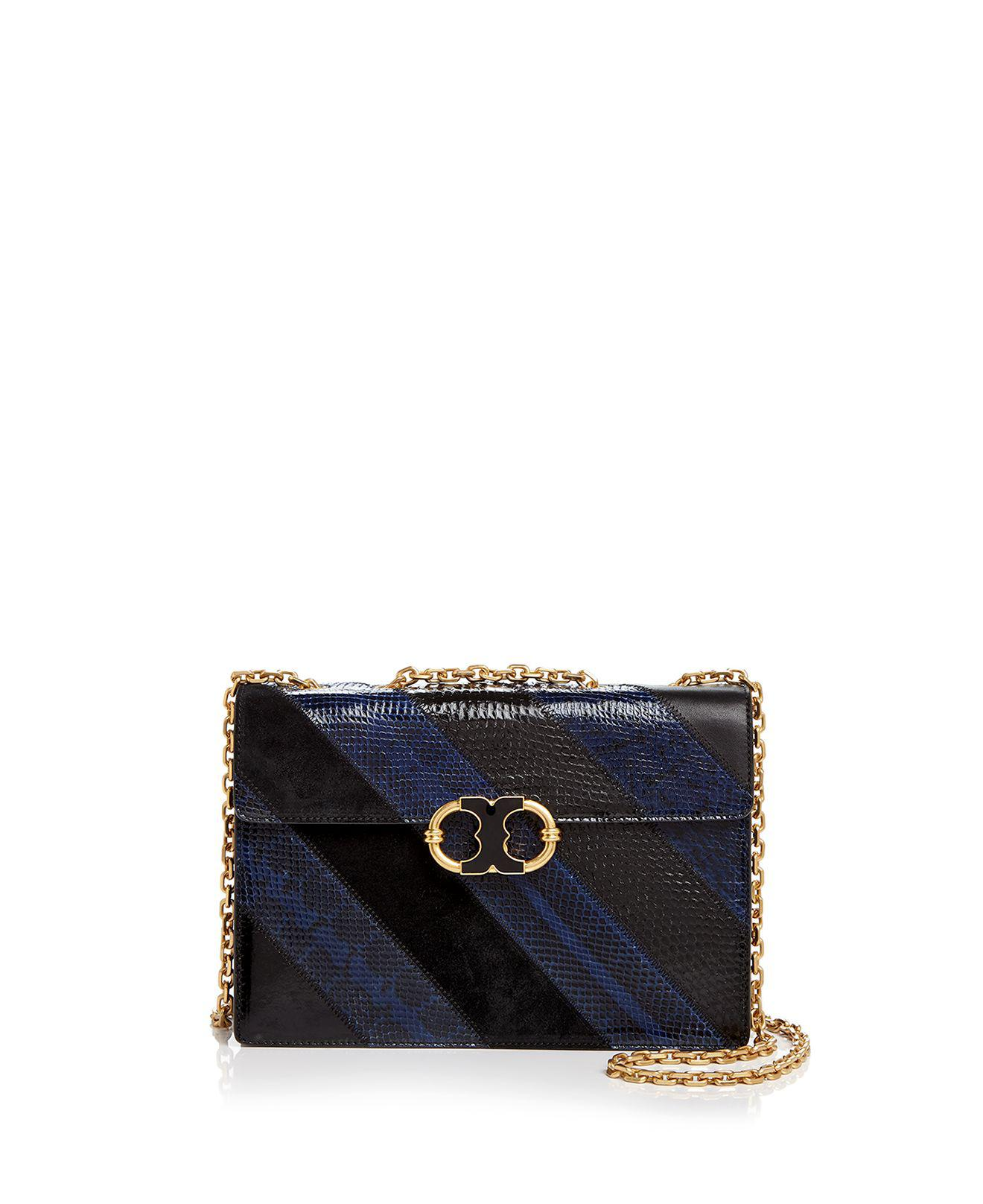 7d62619908f3 Lyst - Tory Burch Gemini Link Chain Snake-embossed Leather Shoulder ...