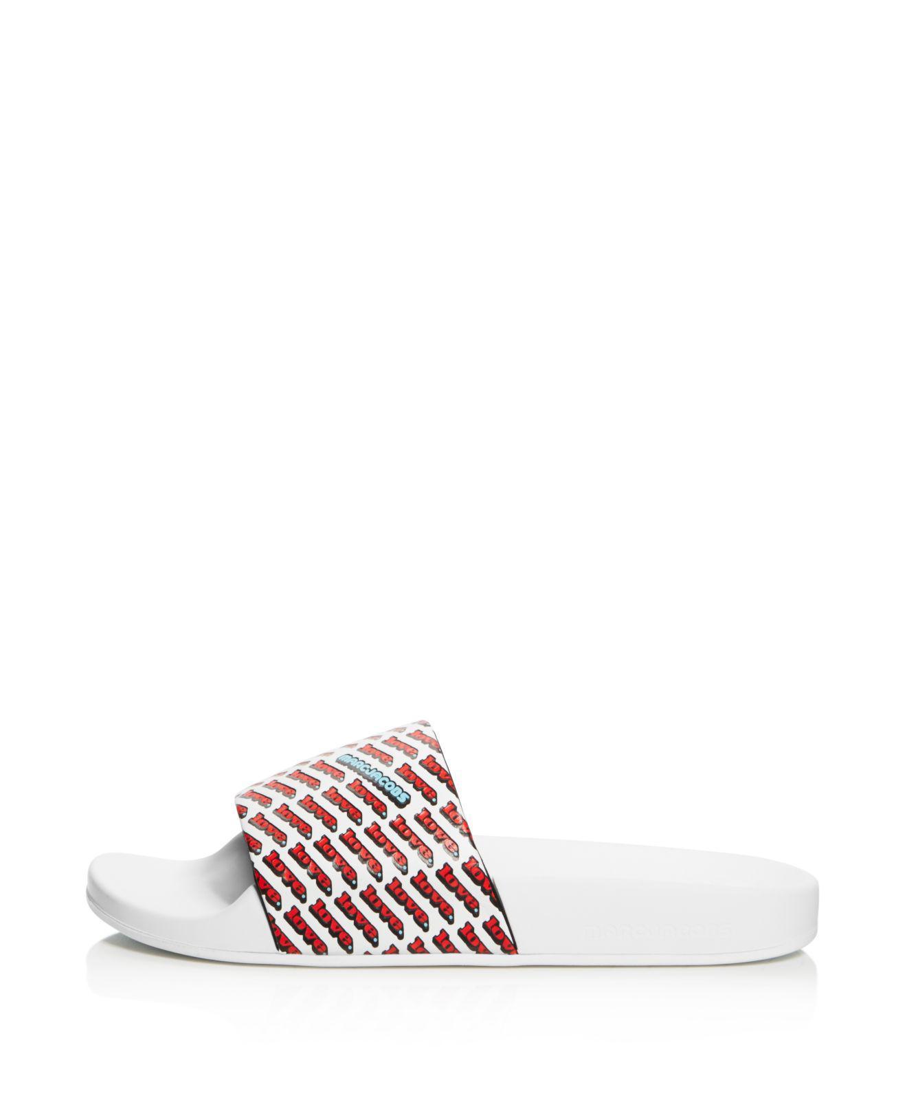Marc Jacobs Women's Love Aqua Leather Slide Sandals WphFWG