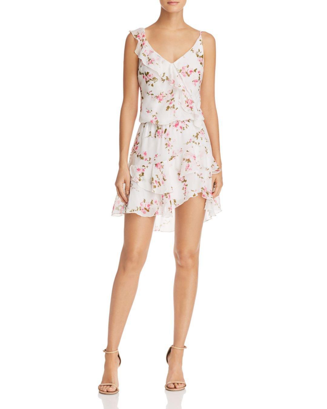 cc89d44555d Karina Grimaldi Paloma Floral-print Ruffled Dress in White - Lyst