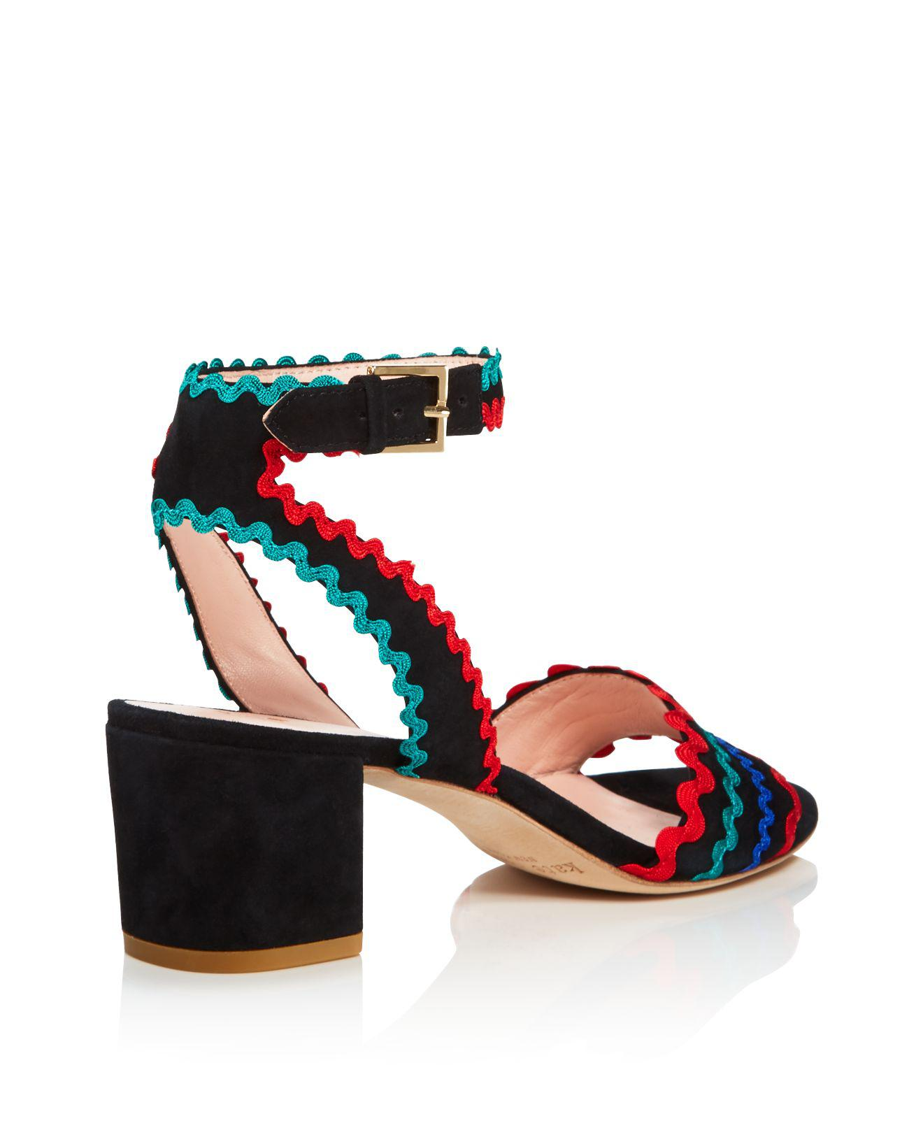 d1a8220db119 Lyst - Kate Spade Piedra Embellished Mid Heel Sandals in Black