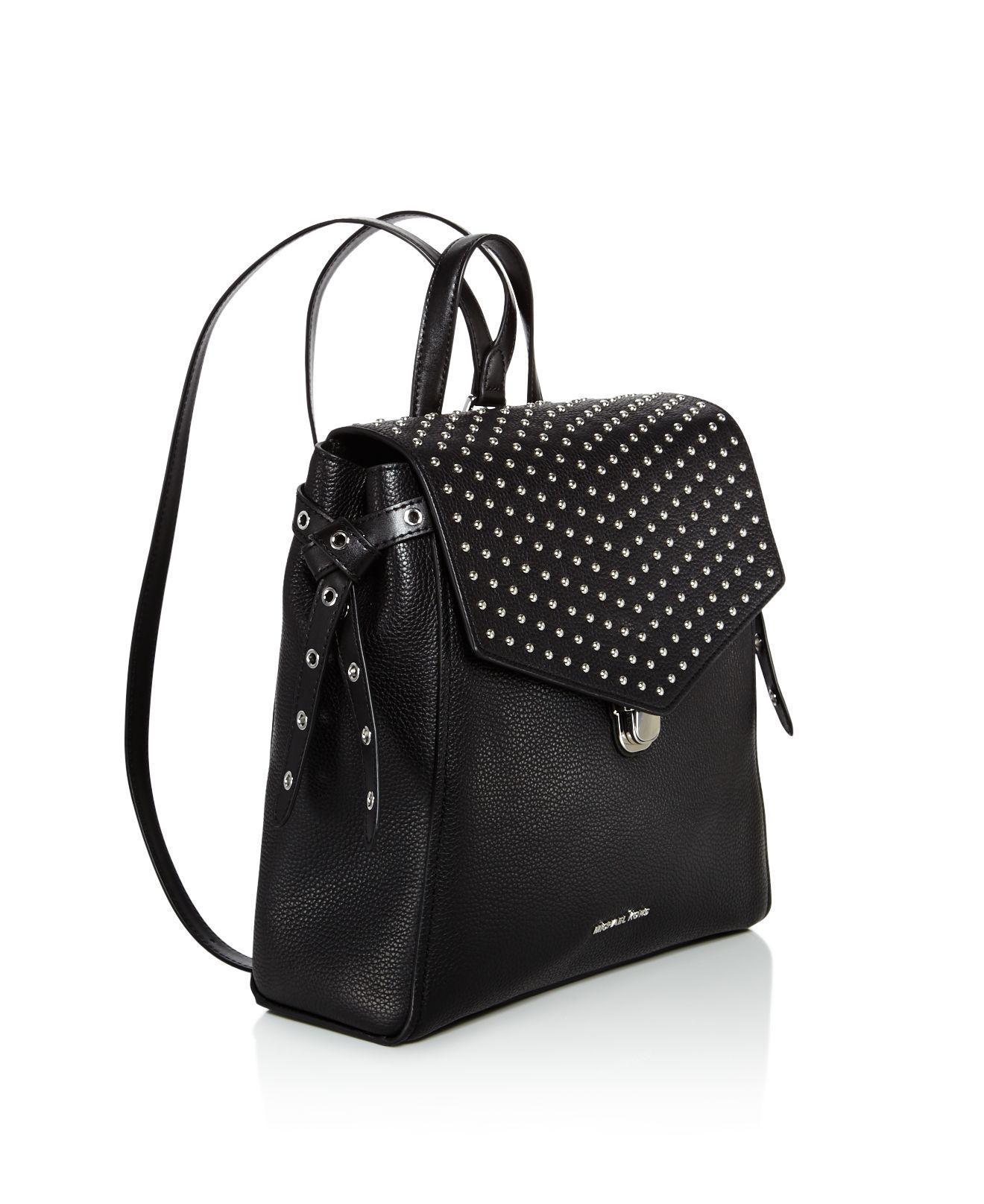 Michael Kors Bristol Medium Studded Leather Backpack in Black/Silver (Black)