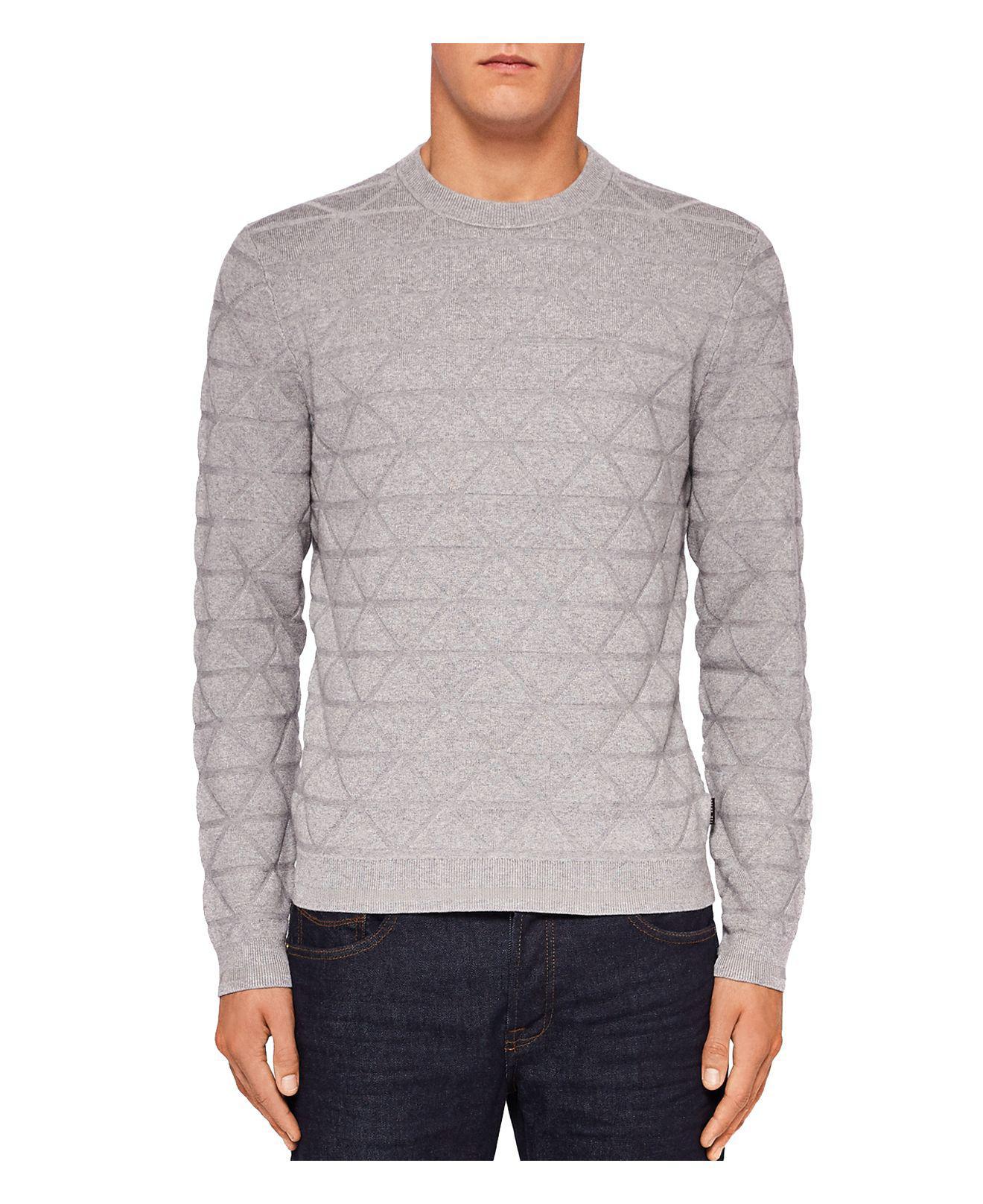 d4e767d247c1d7 Lyst - Ted Baker Matcha Interest Stitch Crewneck Sweater in Gray for Men