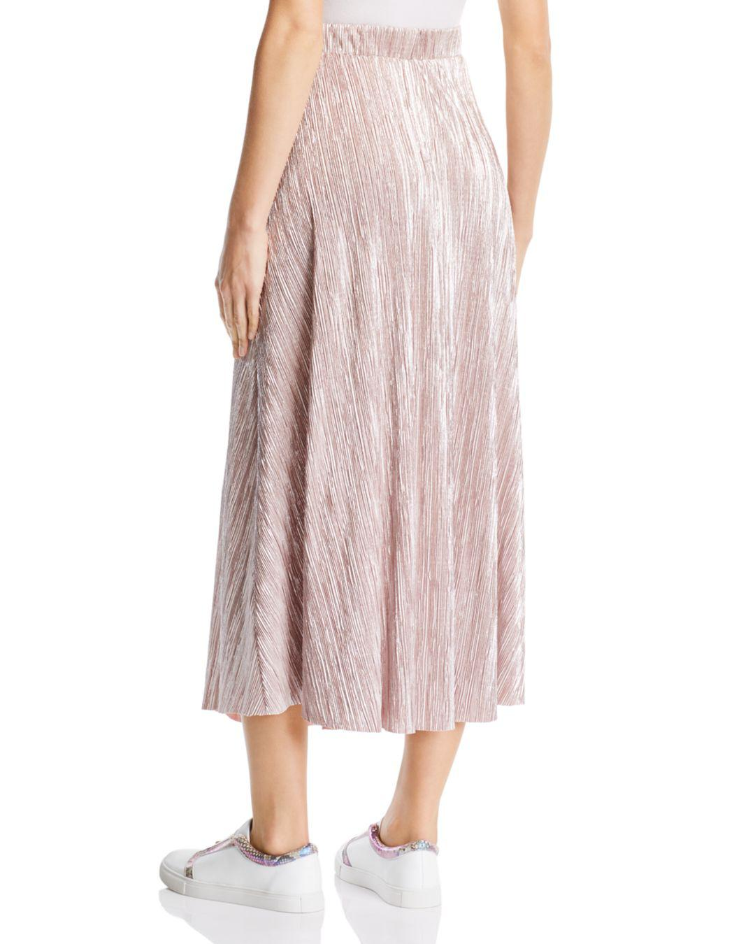 5df14fef46837 Lyst - Free People High Holiday Plissé Midi Skirt in Pink