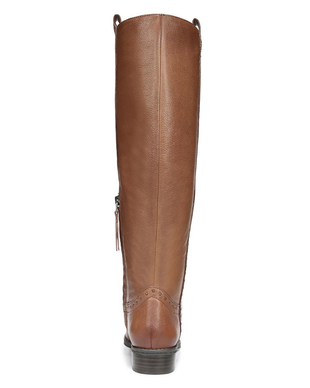 9c98e6a09cb8 Sam Edelman - Brown Women s Prina Round Toe Tall Leather Boots - Lyst. View  fullscreen