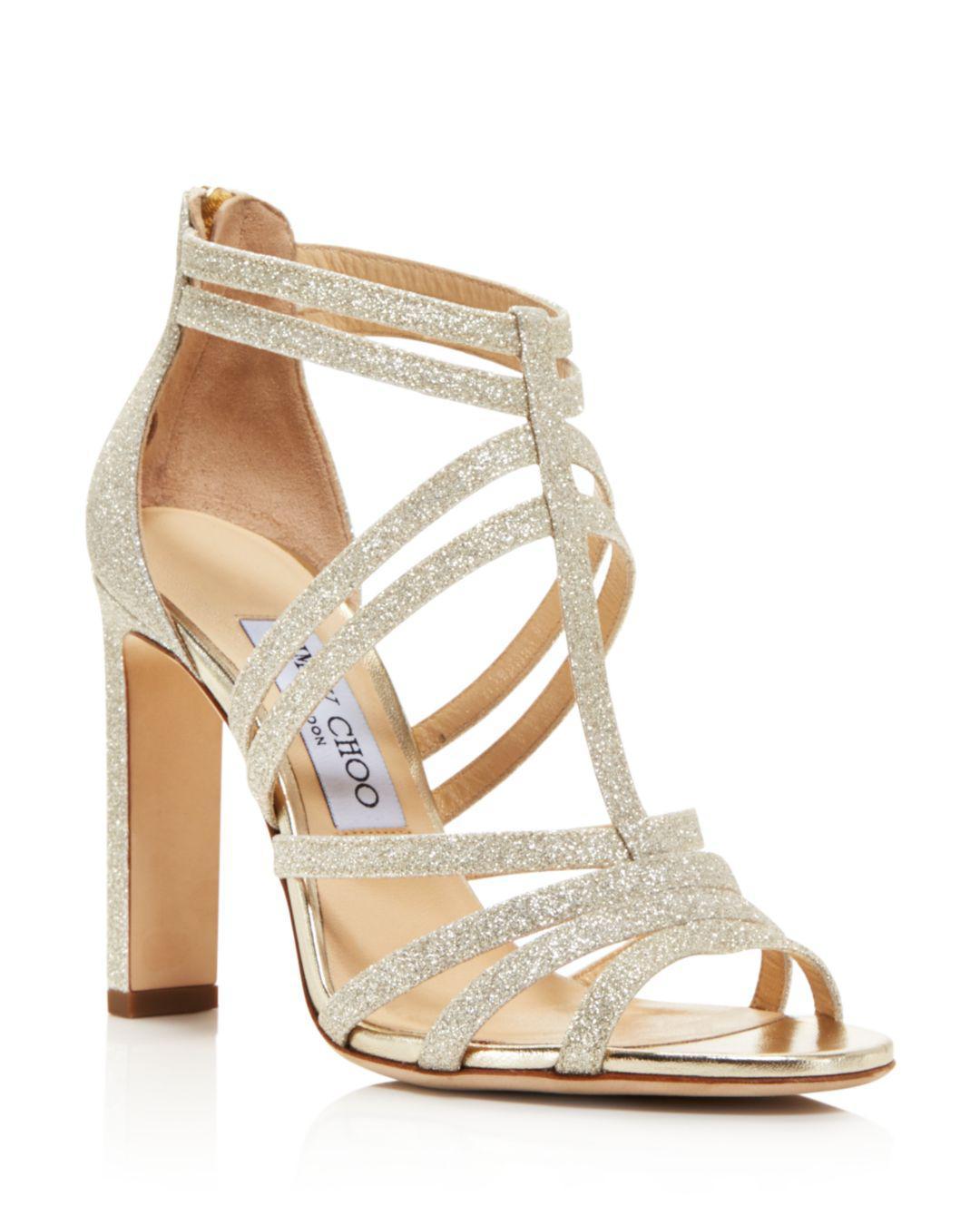 5125d401fbde8 Jimmy Choo Women's Selina 100 Glitter High-heel Sandals in Metallic ...