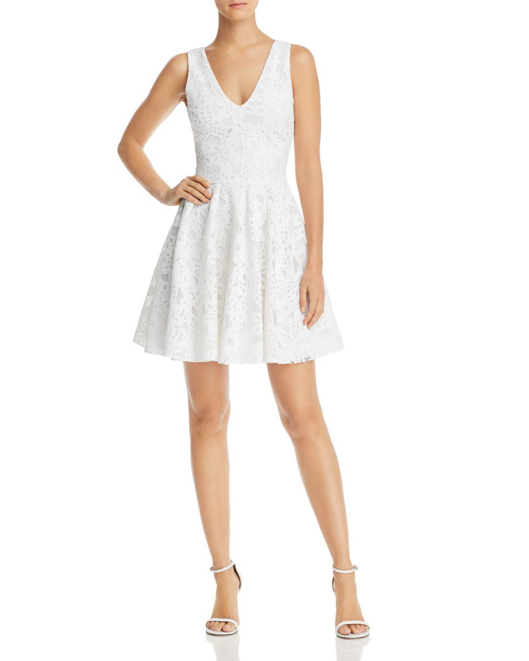 402f6af433 Aqua Floral Mesh Fit-and-flare Dress in White - Lyst