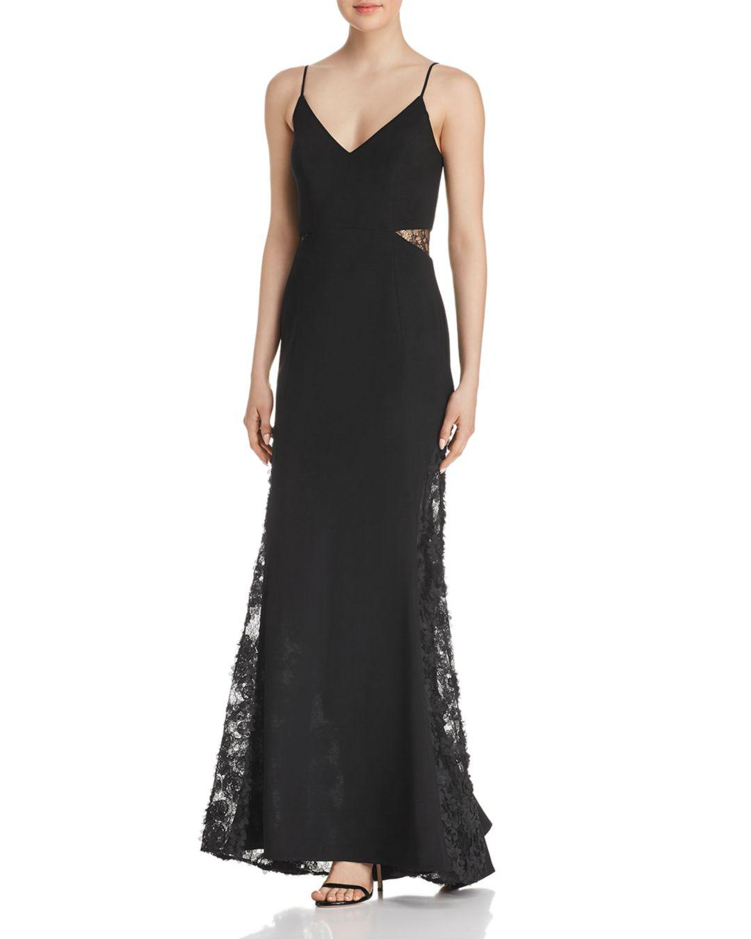 352e8fe2e802 Betsy & Adam Lace-inset Gown in Black - Lyst