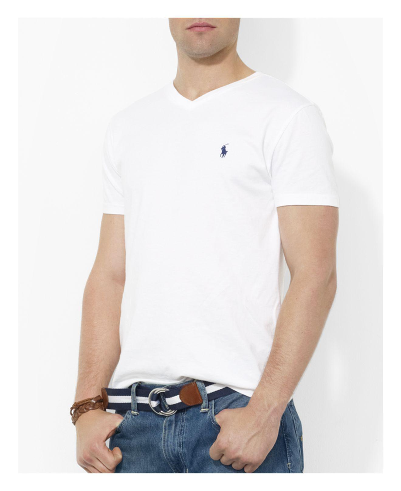 3f1f72049 ... closeout lyst polo ralph lauren cotton v neck tee in white for men  b1eb6 c4101