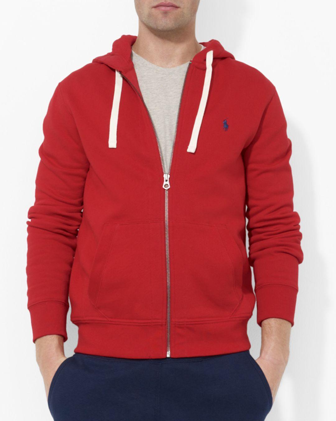 Men's HoodieFull Zip Fleece Hooded Red UpSzVqM