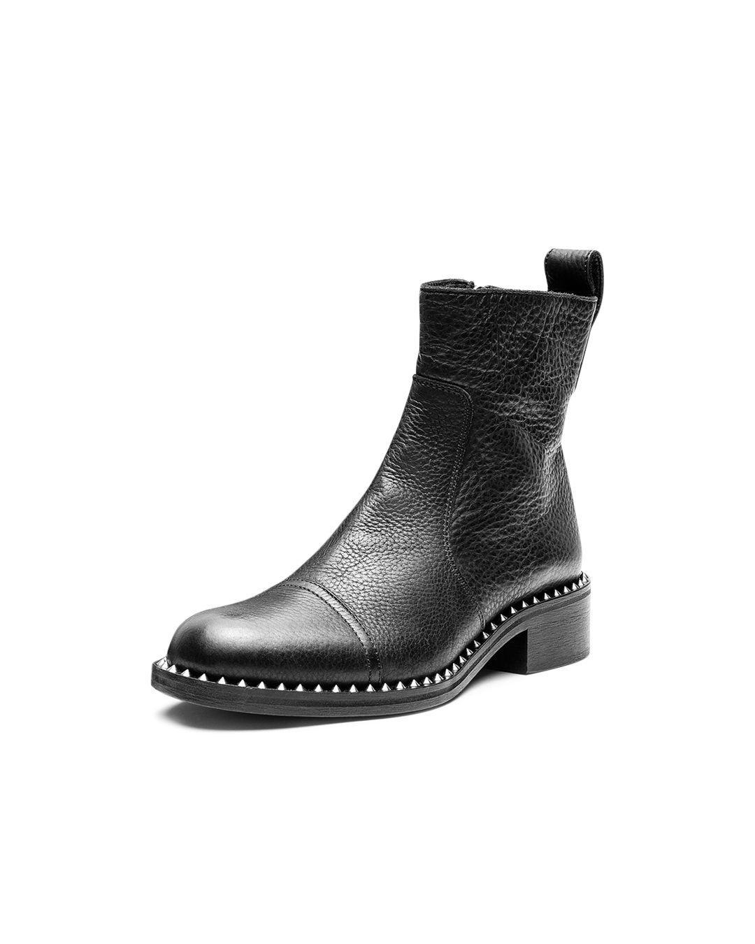 Zadig & Voltaire Women's Empress Clous Round Toe Leather Low - Heel Booties in Black