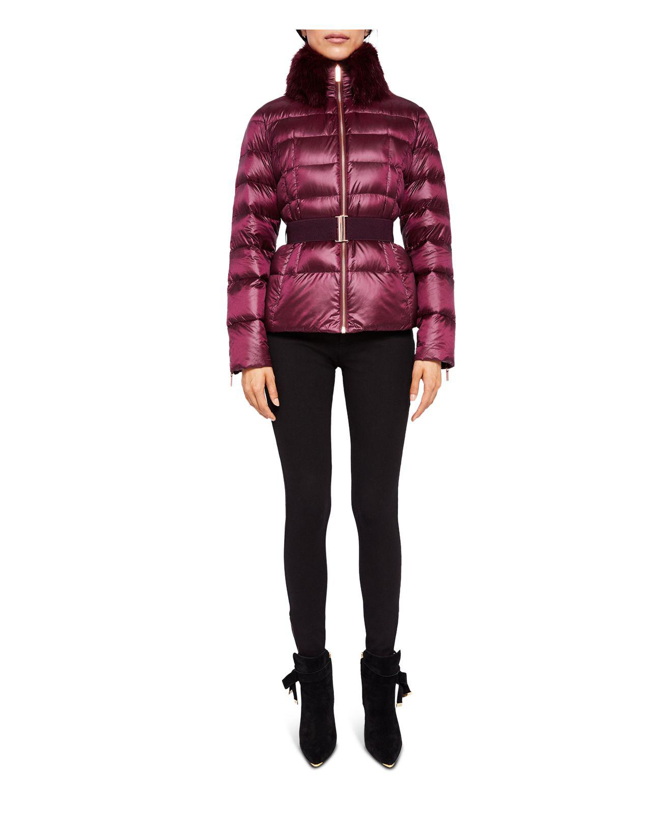 f7c35c053 Lyst - Ted Baker Junnie Faux Fur-collar Down Jacket