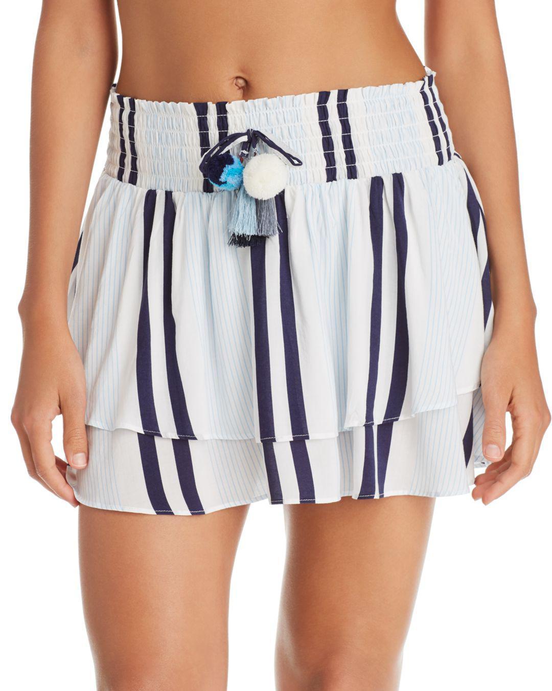e4cc9ec7fac0d Lyst - Surf Gypsy Stripe Ruffle Hem Skirt Swim Cover-up in Blue
