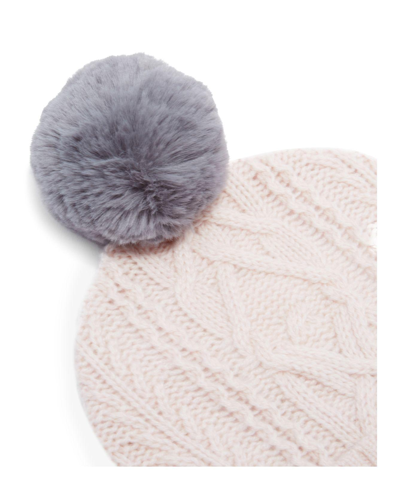 Lyst - Ted Baker Kyliee Cable Knit Pom-pom Beanie in Pink f227a82e2ffc