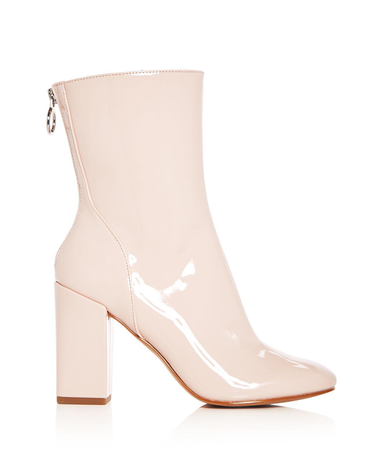 AVEC LES FILLES Women's Raina Patent Leather High Block Heel Booties Le6Ec3TRt4