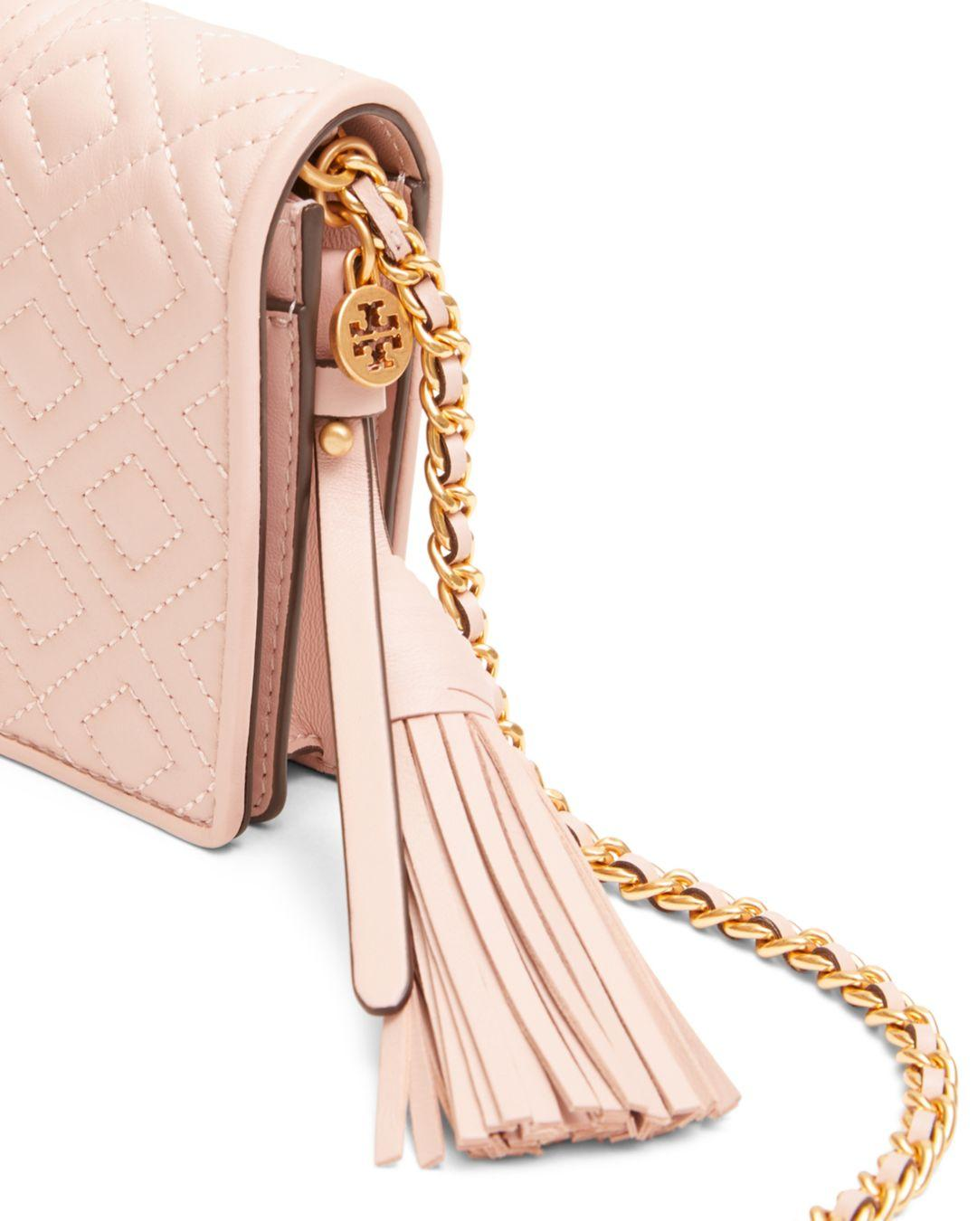 Tory Burch Fleming Quilted Wallet Crossbody Bag Pink LAMBSKIN NWT NEW $328