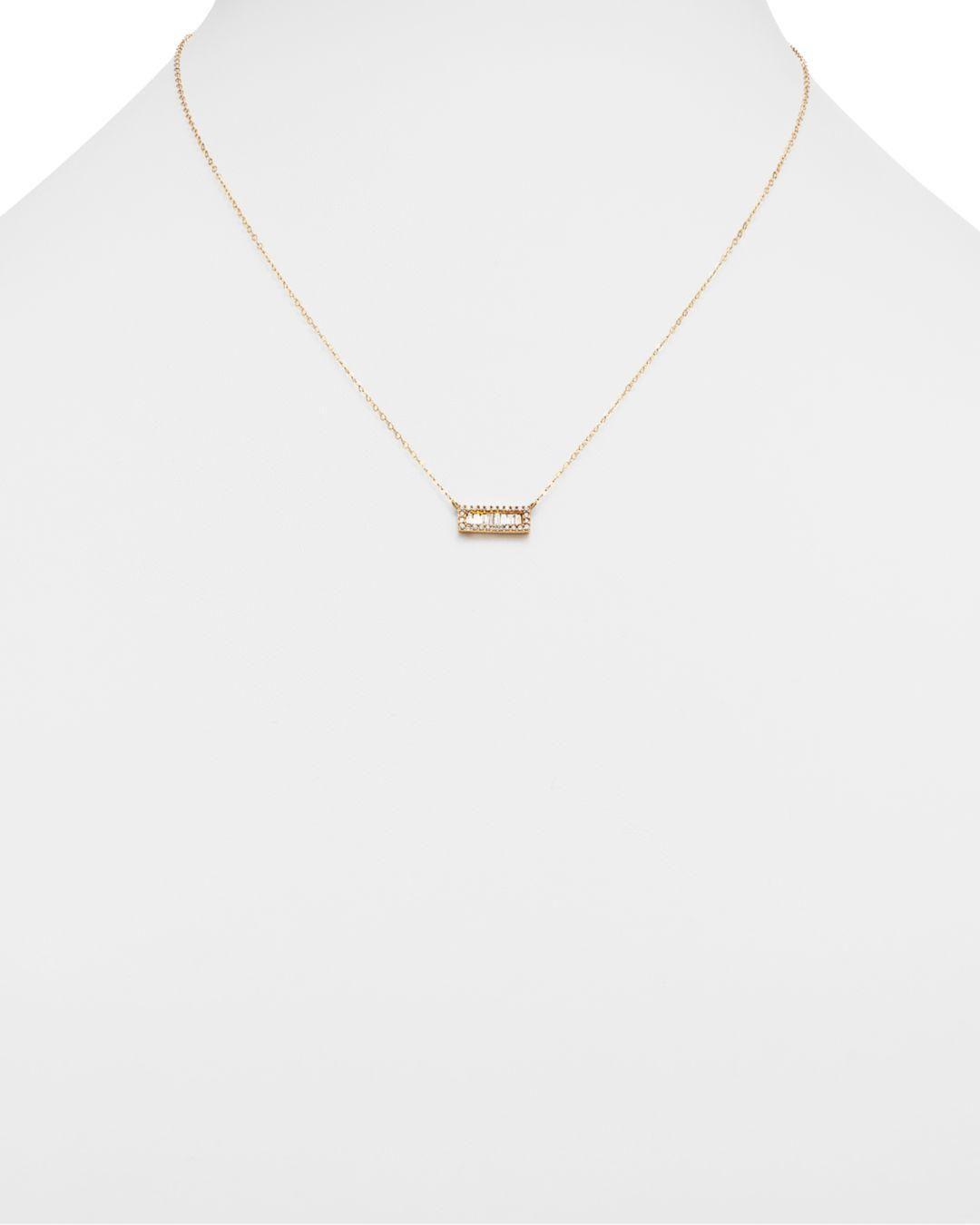 Bloomingdale's Diamond Round And Baguette Bar Necklace In 14k Yellow Gold in Metallic