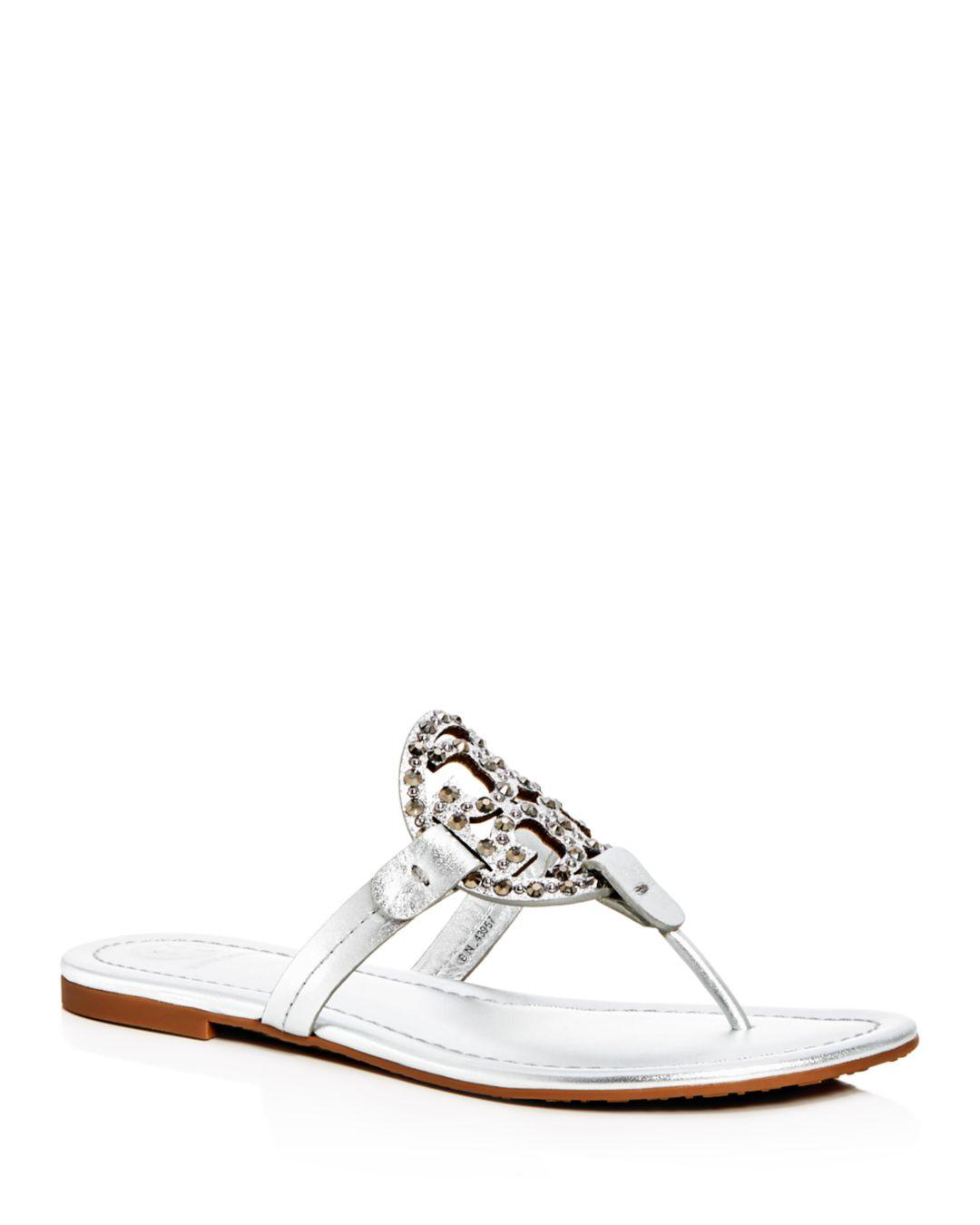 0051adace Lyst - Tory Burch Women s Miller Embellished Thong Sandals in ...