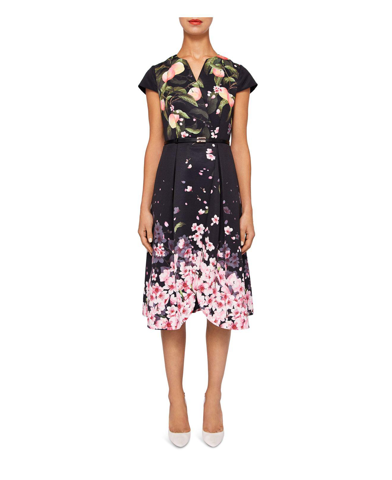 wholesale dealer huge selection of good texture Ted Baker Fredica Peach Blossom Faux-wrap Dress in Black - Lyst