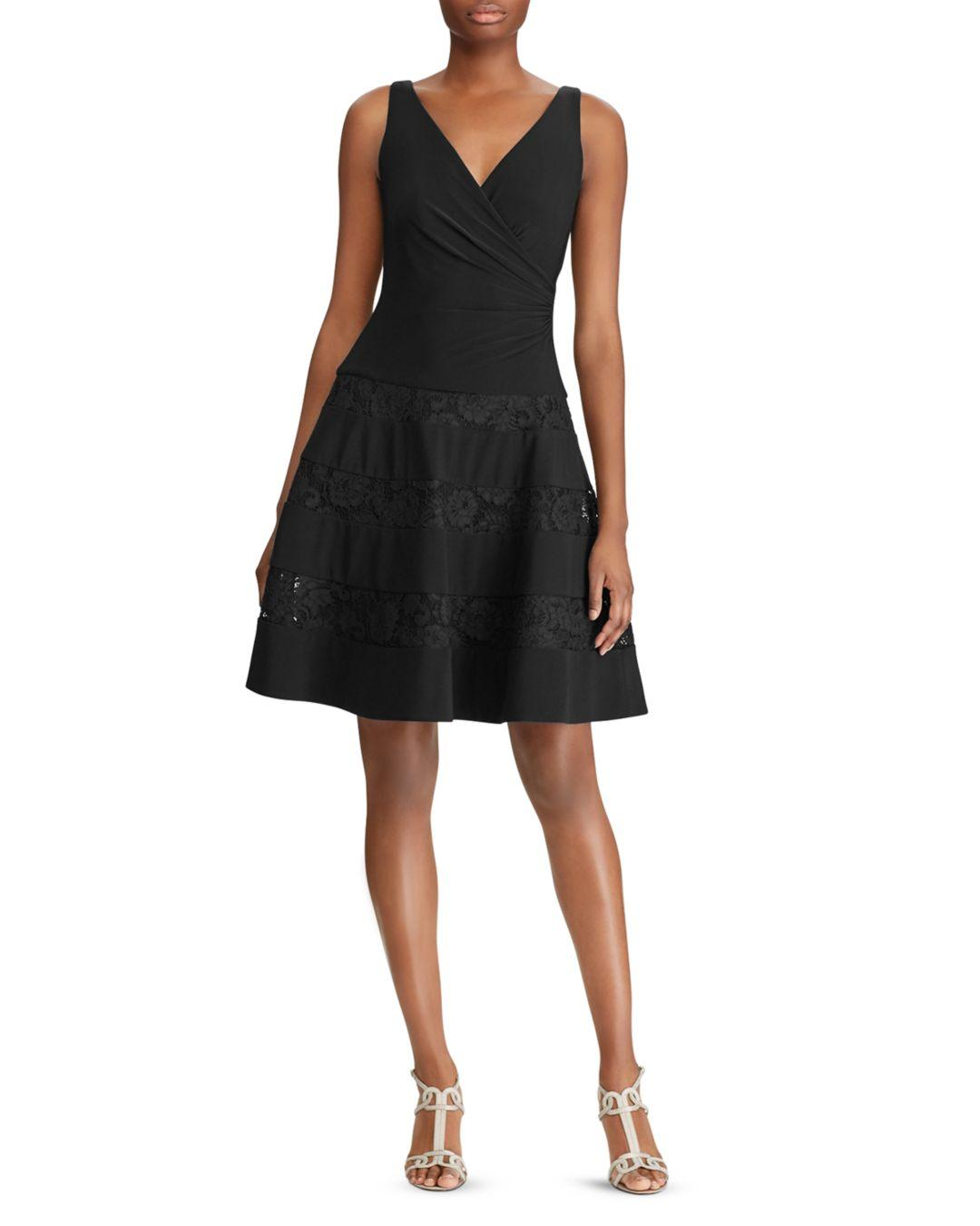 d2eb6905a1a Lyst - Ralph Lauren Lauren Lace-inset Dress in Black