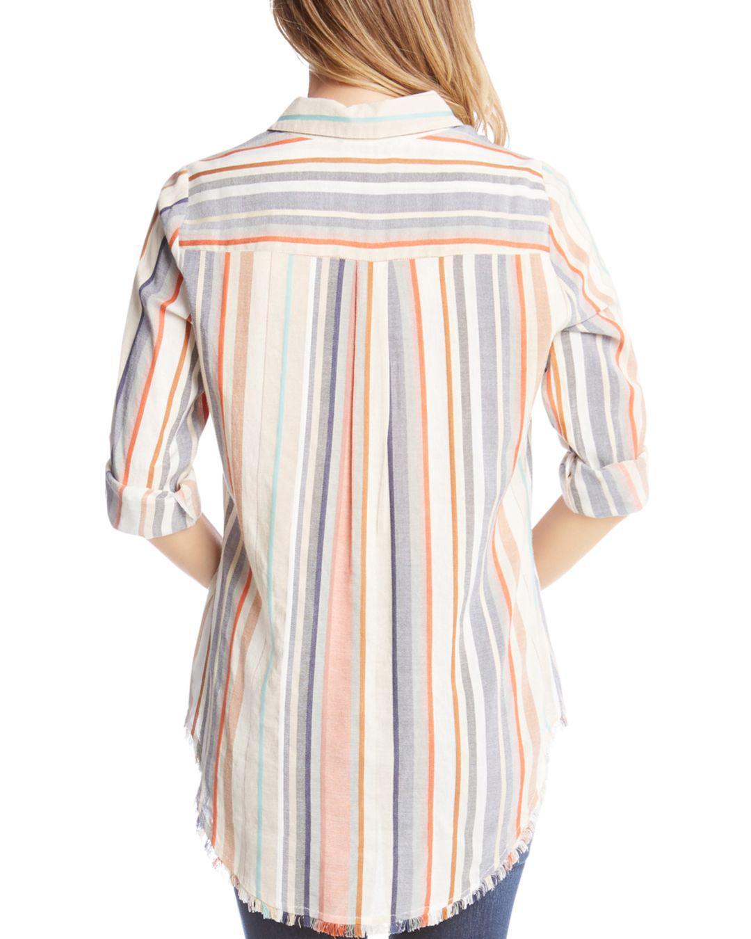 8b16cf74 Karen Kane - Multicolor Stripe Fringe Button-down Tunic - Lyst. View  fullscreen