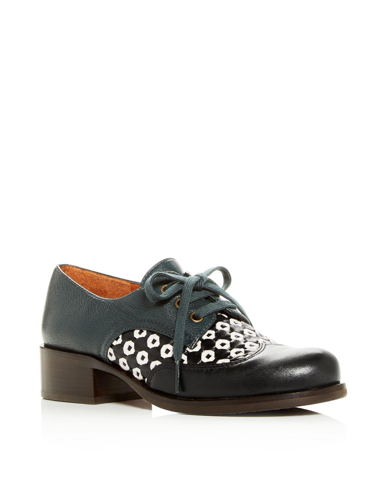 Chie Mihara Women's Tina Woven Leather Block-Heel Oxfords 9oSLQDqhiv
