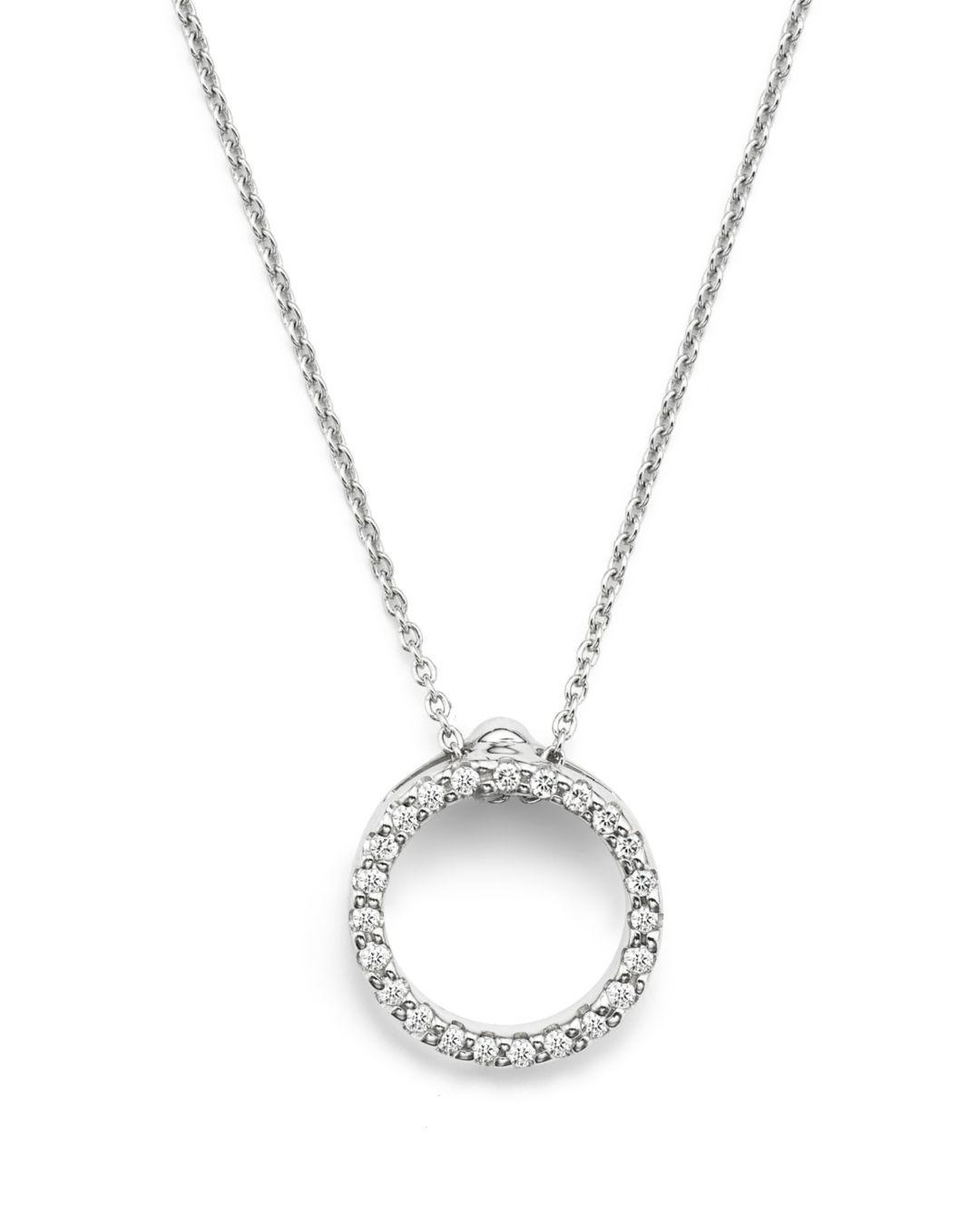 9da3456de0c Women's Metallic 18k White Gold And Diamond Extra Small Circle Necklace