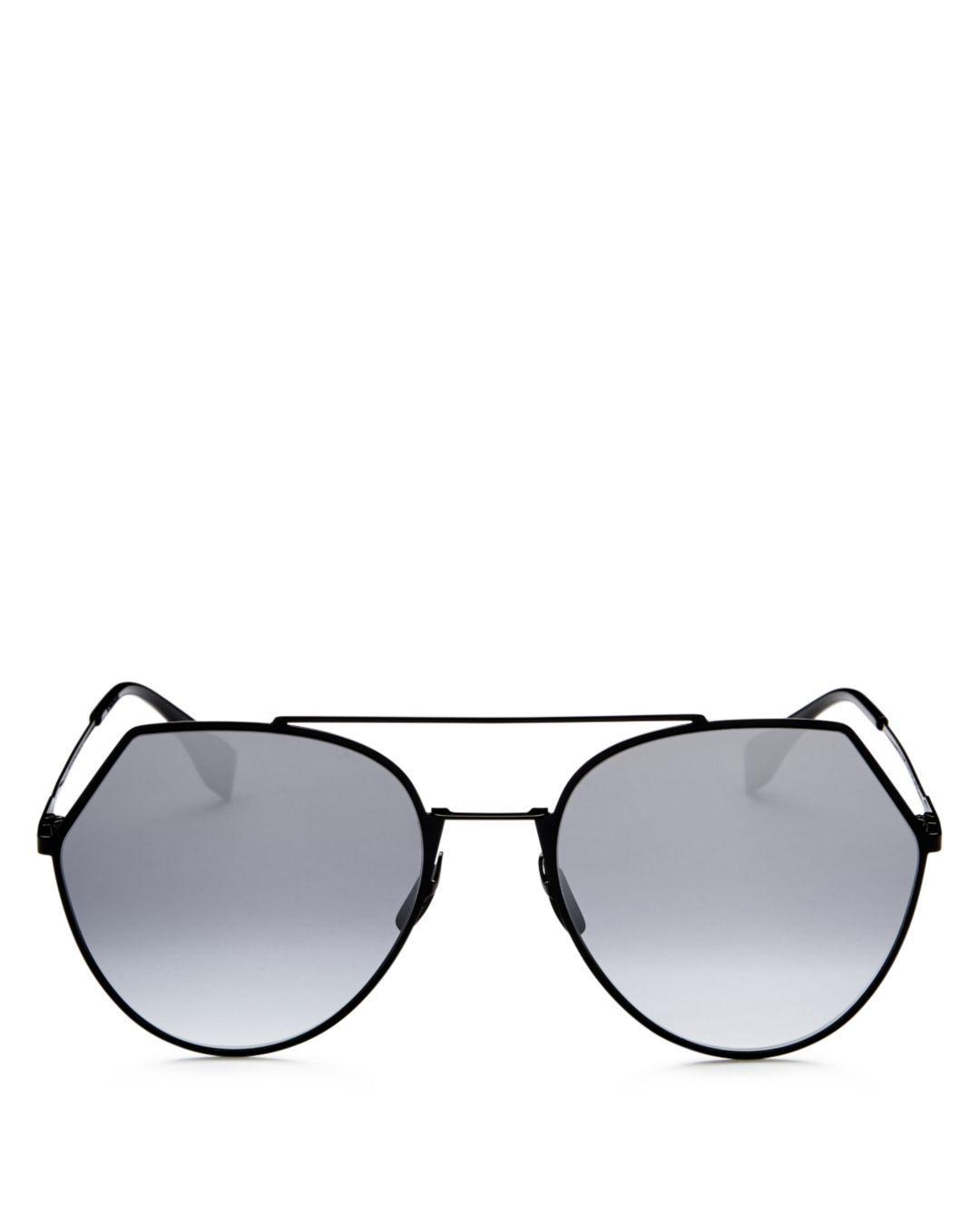 314748de12df0 Fendi Eyeline 0194 Aviator Sunglasses in Black - Save 22% - Lyst