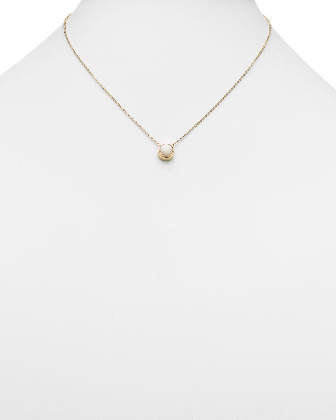 Bloomingdale's Opal Bezel Set Pendant Necklace In 14k Yellow Gold in White/Gold (Metallic)