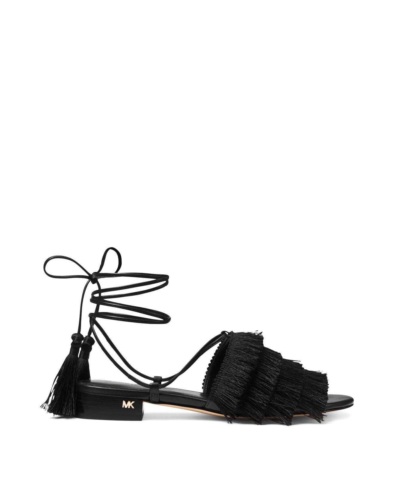 mvWwmqQ2ms Womens Gallagher Fringed Ankle Tie Sandals