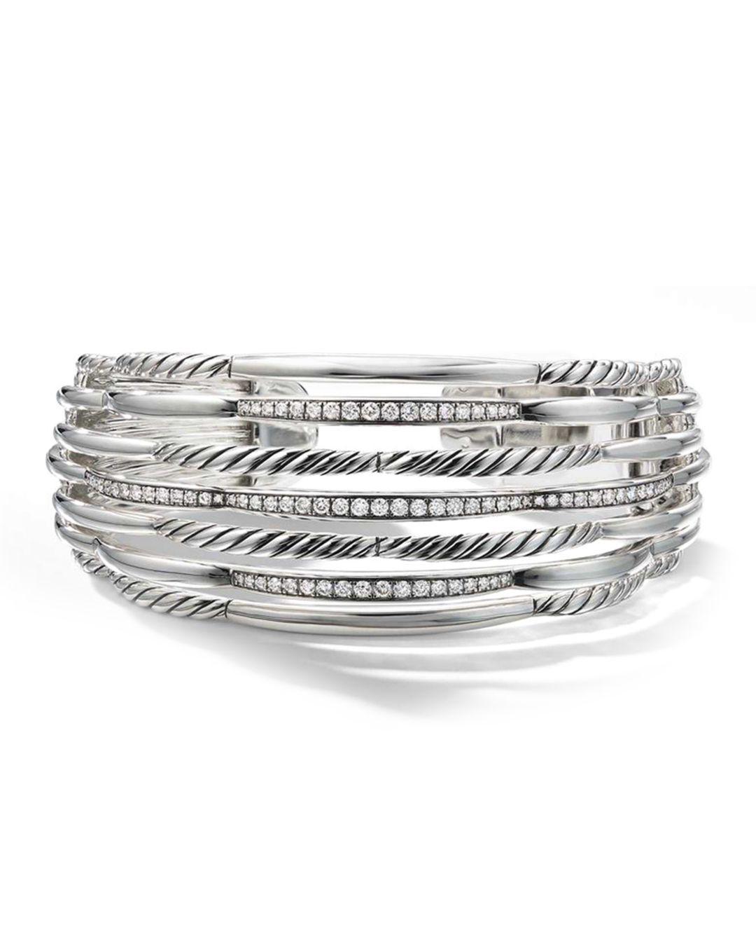 982c340dc3d03 Lyst - David Yurman Tides Wide Woven Cuff With Diamonds   Sterling Silver  in Metallic