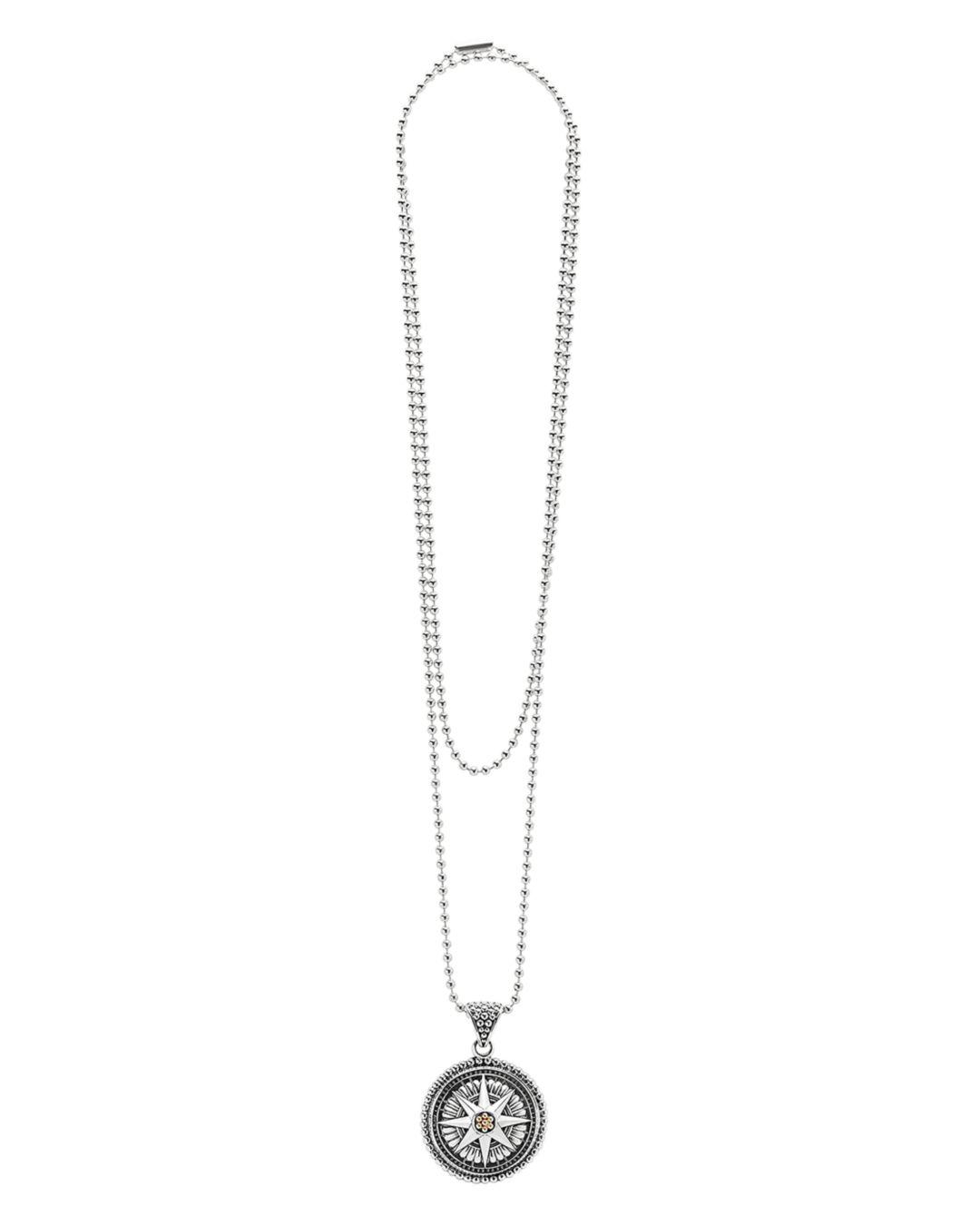 Lagos 18k Gold And Sterling Silver Signature Caviar Compass Pendant Ball Chain Necklace in Silver/Gold (Metallic)