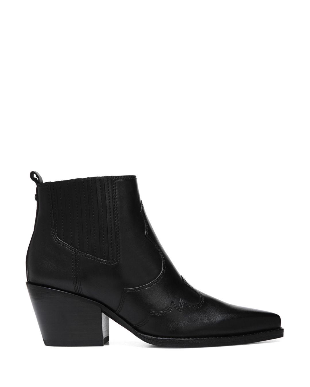 14c9b8f7aea149 Lyst - Sam Edelman Women s Winona Pointed-toe Mid-heel Leather Booties in  Black