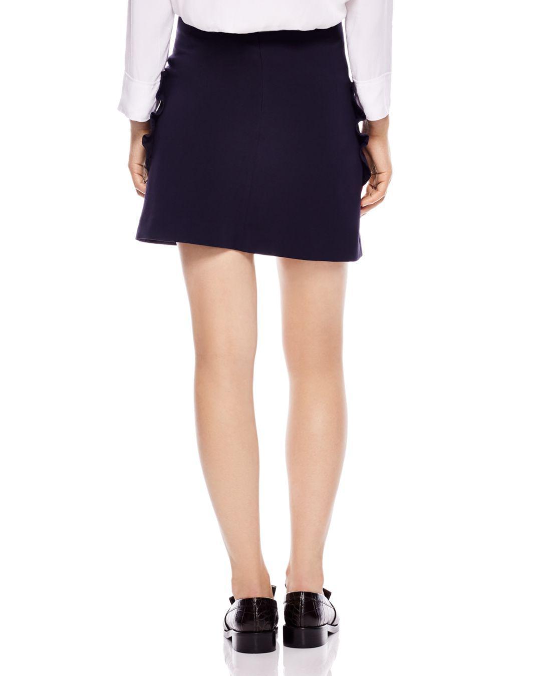 799f0847d Sandro Achilee Ruffled-pocket Skirt in Blue - Lyst