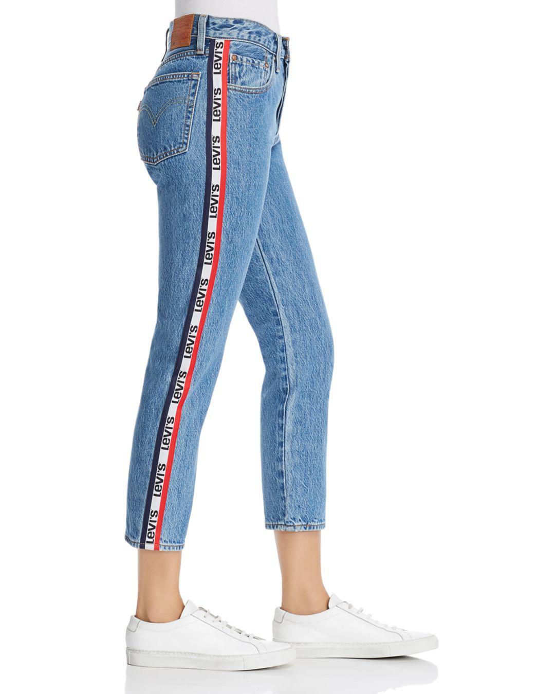 Levi's Denim 501 Logo - Stripe Crop Straight Jeans In ...