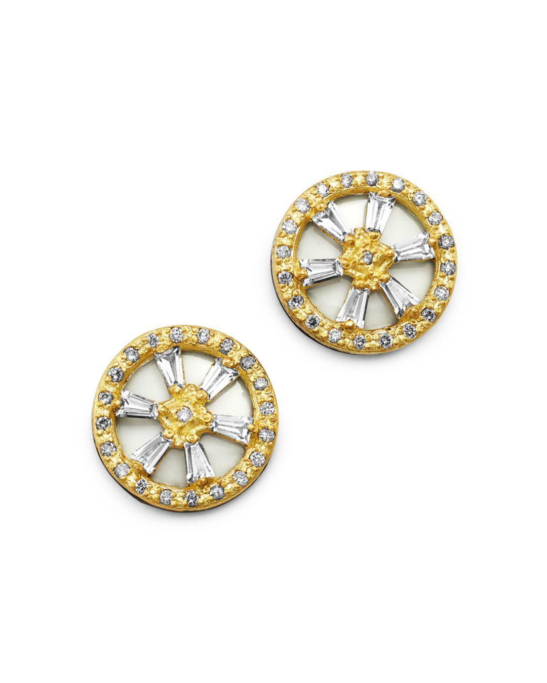 Armenta Women S Metallic 18k Yellow Gold Blackened Sterling Silver Old World Crivelli White Shire Champagne Diamond Stud Earrings