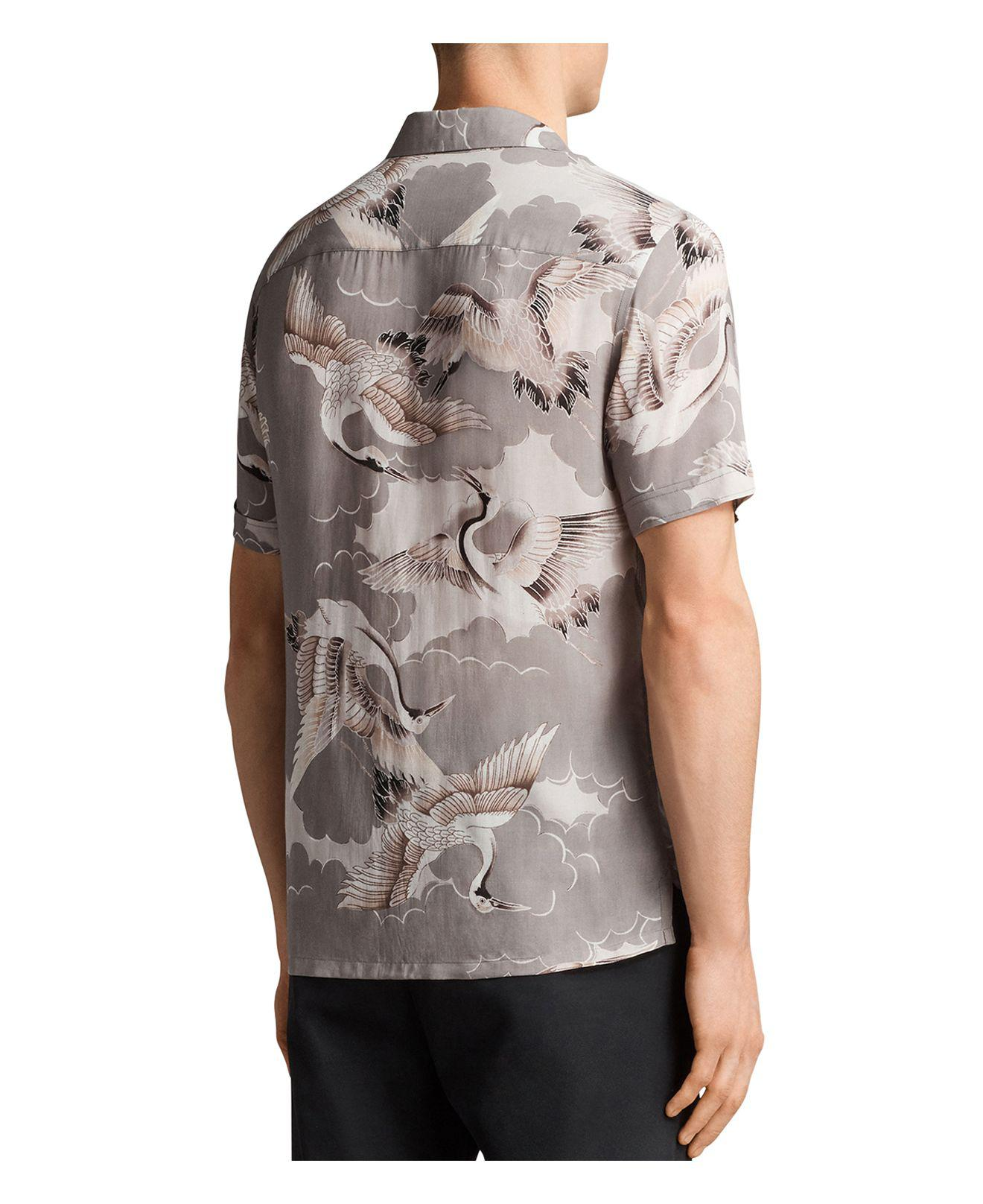 AllSaints Romaji Regular Fit Button-down Shirt in Light Gray (Grey) for Men