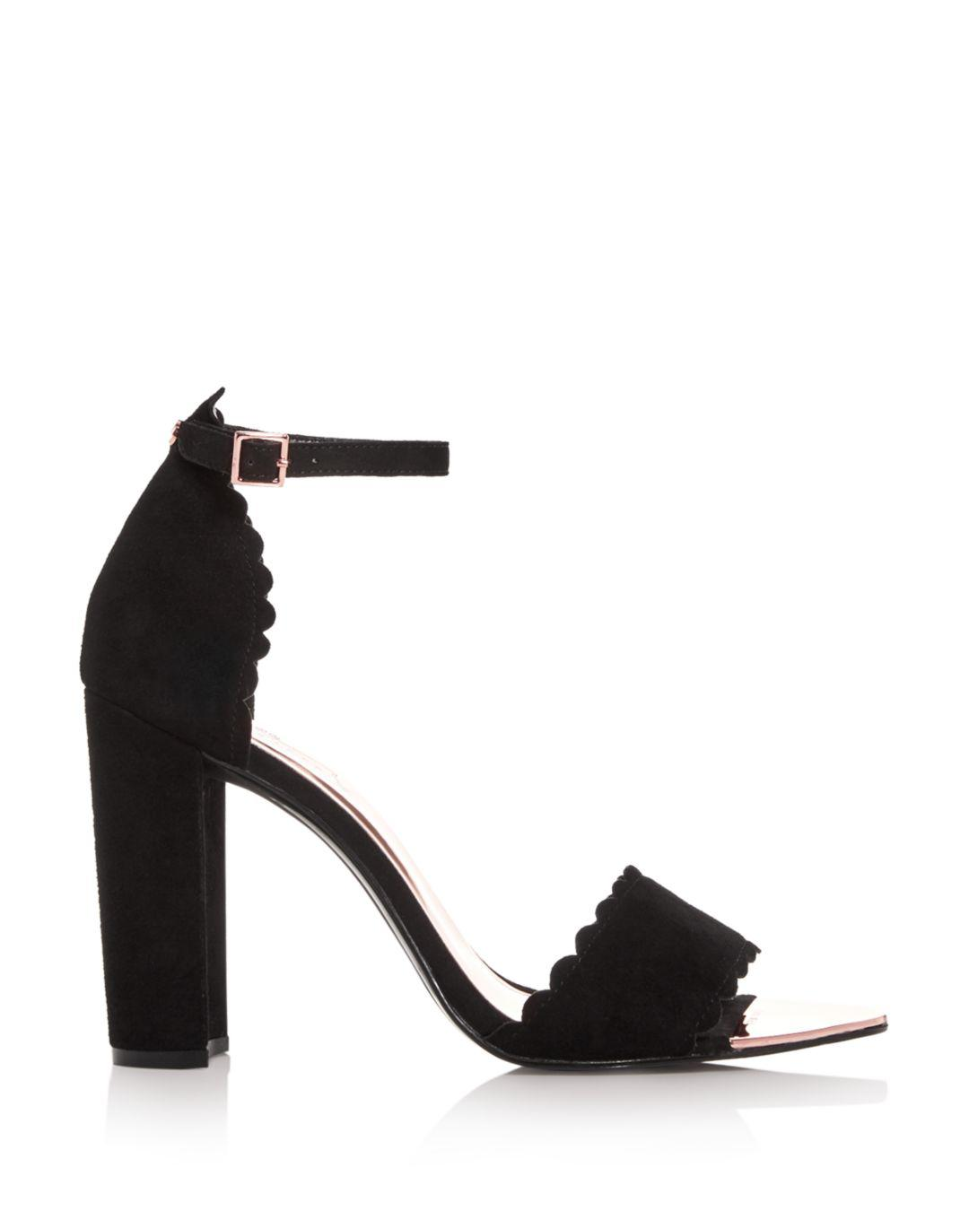 46816fd85 Lyst - Ted Baker Women s Raidha Scalloped High Block-heel Sandals in Black