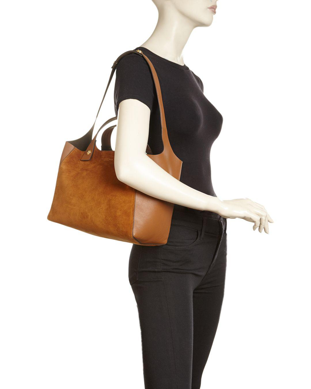 e1975c7f21ea Tory Burch Rory Mini Suede   Leather Tote in Brown - Lyst